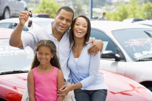 Family collecting used car